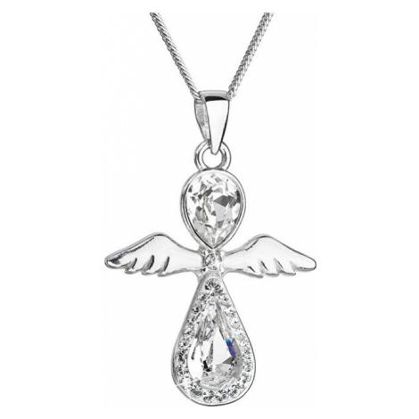 Evolution Group Nežný strieborný náhrdelník Anjel s kryštálmi Swarovski (retiazka, prívesok)