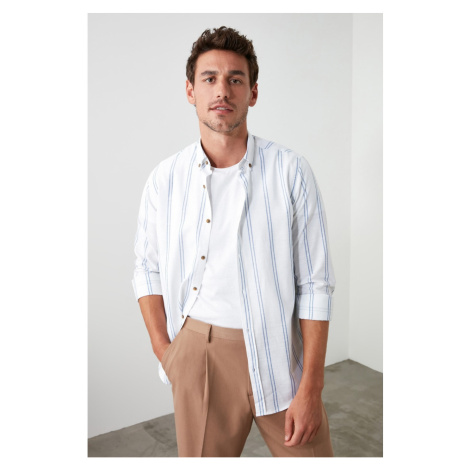 Trendyol White Men Button Collar Slim Striped Shirt