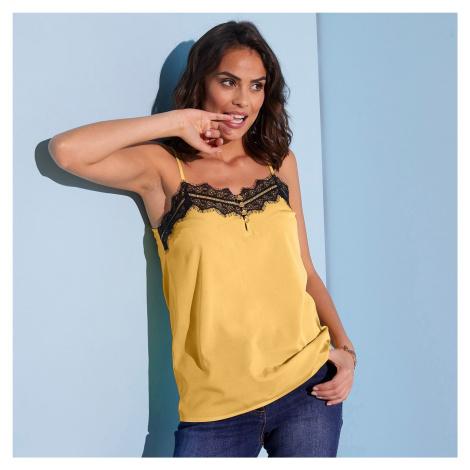 Blancheporte Top s čipkou a úzkymi ramienkami žltá/čierna
