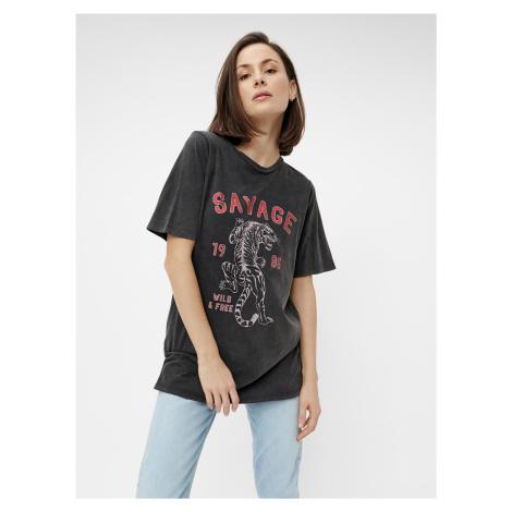 Čierne tričko s potlačou Pieces