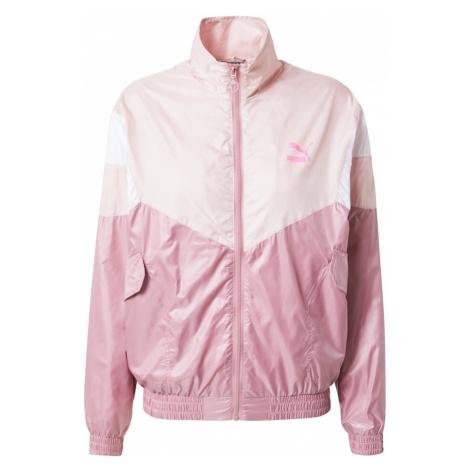 PUMA Tepláková bunda 'Woven'  tmavoružová / biela / ružová