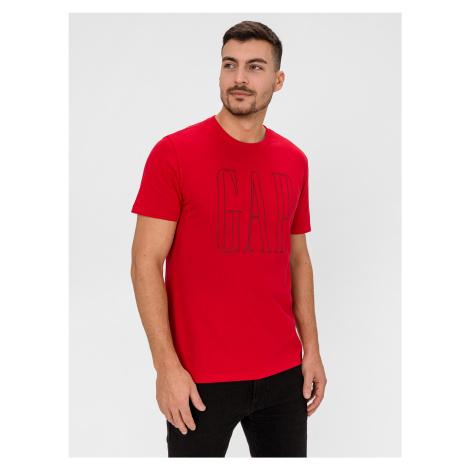 GAP červené pánske tričko s logom - XL