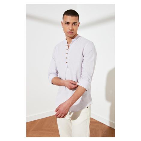 Trendyol Lila Men's Half Pat Buttoned Dominating Collar New Shirt