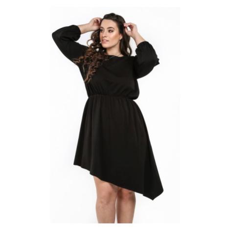 Asymetrické štýlové šaty s okrúhlym výstrihom, čierne FASARDI