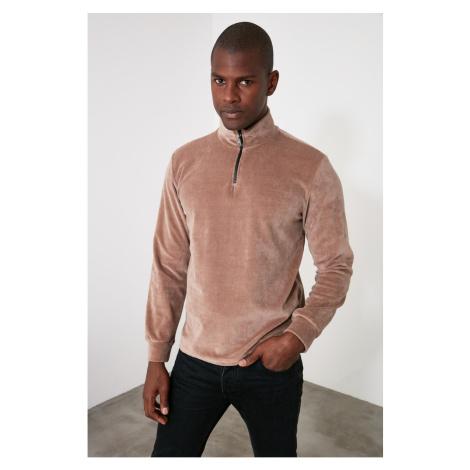 Trendyol Camel Men's Velvet Sweatshirt