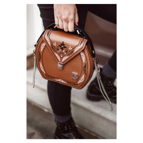 Hnedá crossbody kabelka s výšivkou Ema Princessa