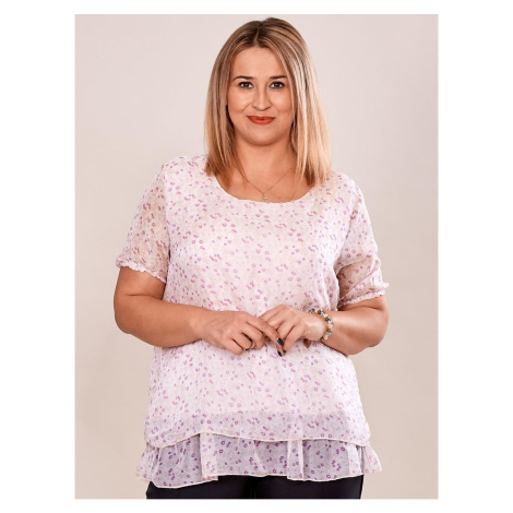 Floral silk light pink blouse with PLUS SIZE frill