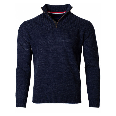 Pánsky sveter na zips Isai navy