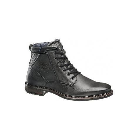 Čierna kožená členková obuv so zipsom AM SHOE