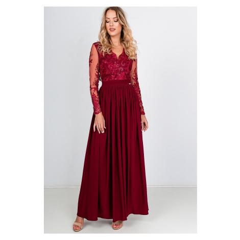 Dlhé bordové spoločenské šaty s čipkovanými rukávmi