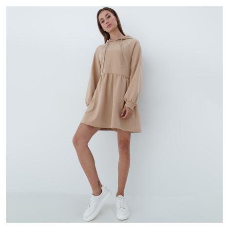 Mohito - Teplákové šaty s kapucňou - Béžová
