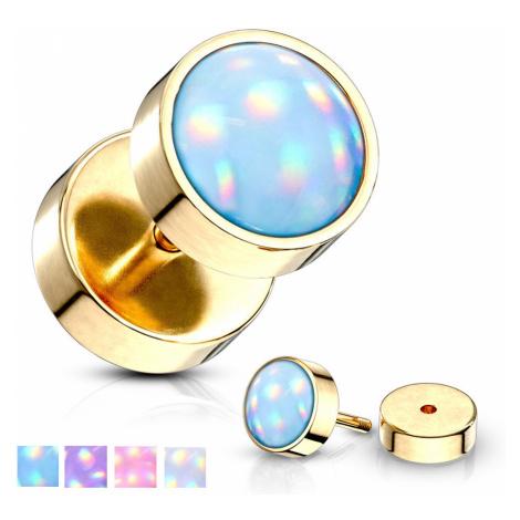 Piercing z 316L ocele do ucha, zlatá farba - polgulička, epoxidová glazúra, rôzne farby - Farba: