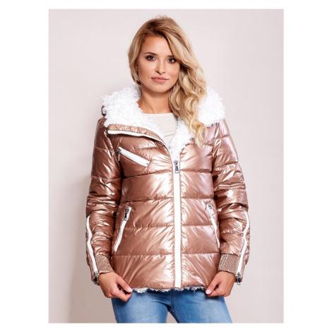 Lesklá zimná bunda ružovej farby