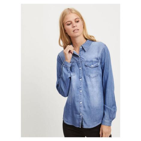 Modrá džínsová košeľa s dlhým rukávom VILA Bist