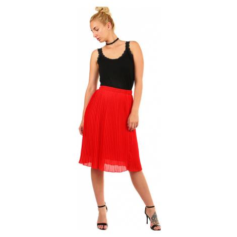 Dámska plisovaná skladaná midi sukňa s pružným pásom