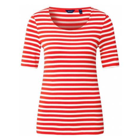 GANT Tričko  ohnivo červená / biela