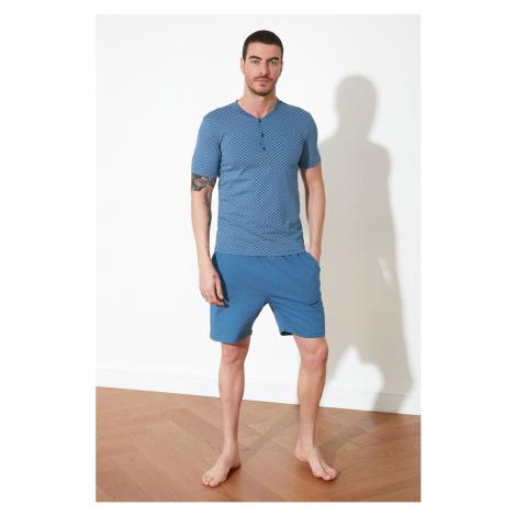 Trendyol Blue Printed Knitted Pyjama Set