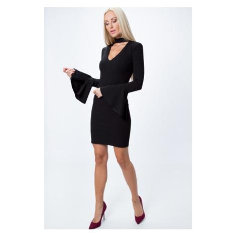 Štýlové, krátke šaty s dlhým rukávom do zvonu a nenahraditeľným chokerom, čierne FASARDI