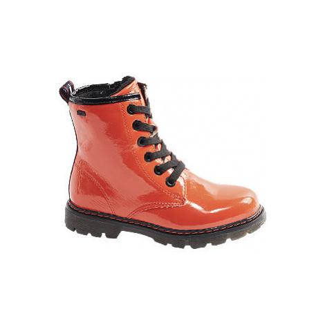 Oranžová lakovaná dievčenská členková obuv Tom Tailor s Tex membránou