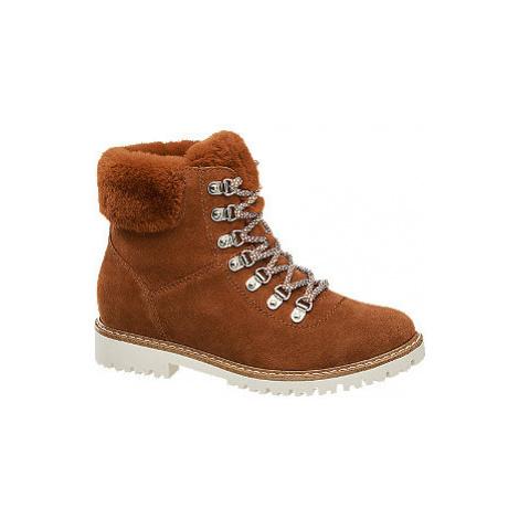Červeno-hnedá kožená šnurovacia obuv Landrover
