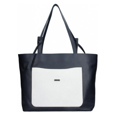 Dámska kožená kabelka Facebag Tera - modro-biela