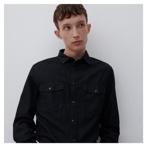 Reserved - Denimová košeľa z organickej bavlny - Čierna