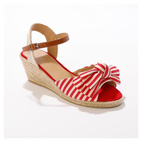 Blancheporte Remienkové sandále na kline, červené červená
