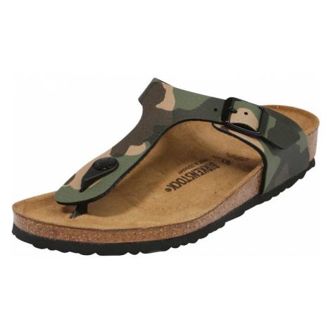 BIRKENSTOCK Otvorená obuv 'Gizeh'  kaki / hnedá / tmavozelená / svetlohnedá