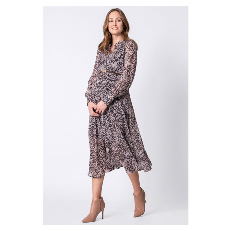 Čierno-leopardie košeľové tehotenské midi šaty Indira