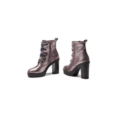 Tommy Jeans Členková obuv Metallic Lace Up Hee EN0EN00315 Strieborná Tommy Hilfiger