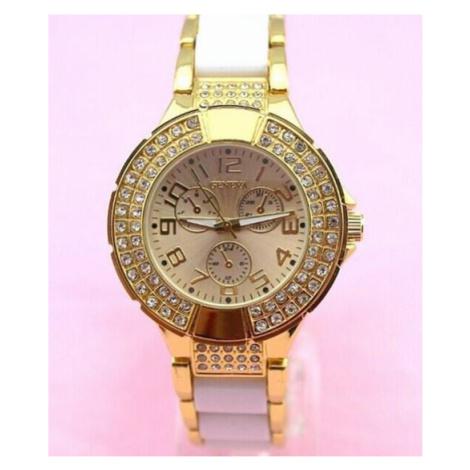 Dámske vykladané hodinky Geneva - zlaté White