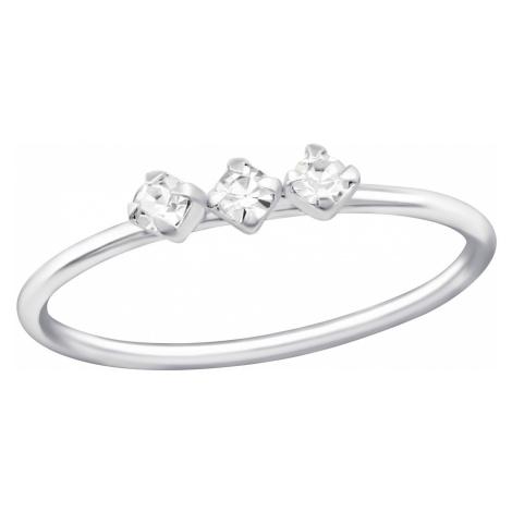 OLIVIE Strieborný prsteň s kryštálmi 0661