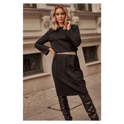 Čierne šaty s dlhým rukávom M624 Makadamia