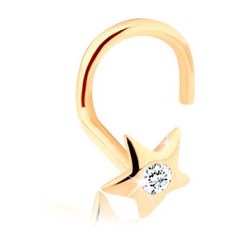 Zlatý piercing do nosa 585 - ligotavá hviezdička so zirkónom