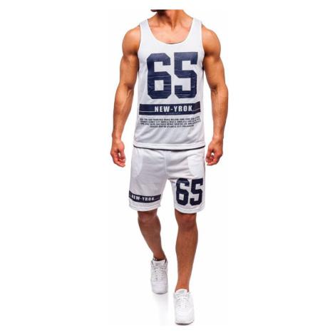 Biely pánsky komplet: tričko + kraťasy  BOLF 100777 J.STYLE