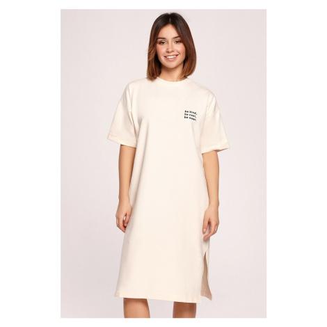 Smotanové tričkové midi šaty B194