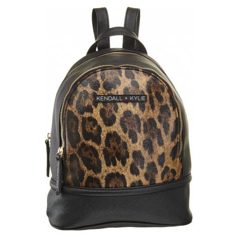 Kendall + Kylie - Čierny batoh Kendall + Kylie s leopardím vzorom