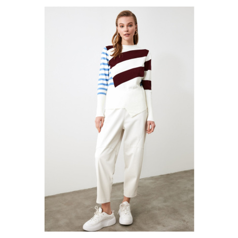 Trendyol Burgundy Contrast Striped Knitwear Sweater