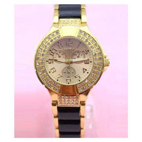 Dámske vykladané hodinky Geneva - zlaté Black
