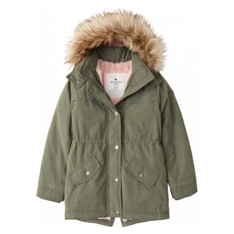 Abercrombie & Fitch Zimná bunda  kaki / svetlohnedá / ružová