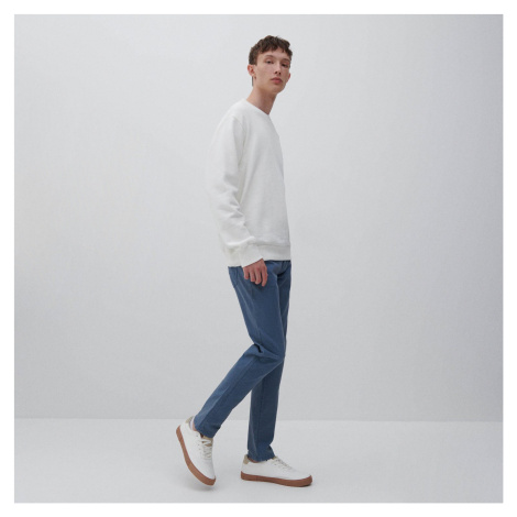 Reserved - Bavlnené nohavice slim fit - Modrá