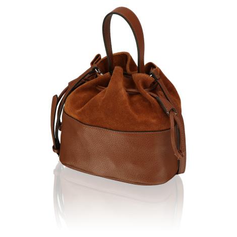 Lazzarini kombinácia s kožou taška hnedá