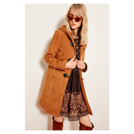 Trendyol Camel Hooded Button Detailed Jacket