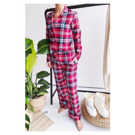 Emporio Armani Underwear Emporio Armani Holidays flanelové pyžamo dámske - červená Veľkosť: XS