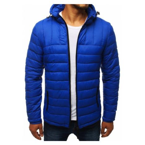 Pánska prešívaná modrá bunda s kapucňou tx2742