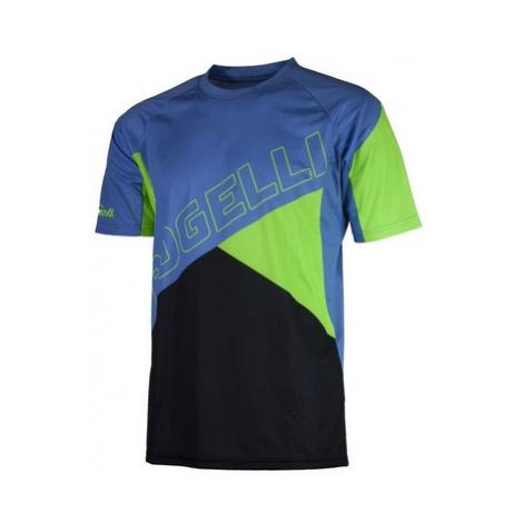 Voľný cyklistický MTB dres Rogelli ADVENTURE s krátkym rukávom a bez vreciek, modro-zelený 060.1
