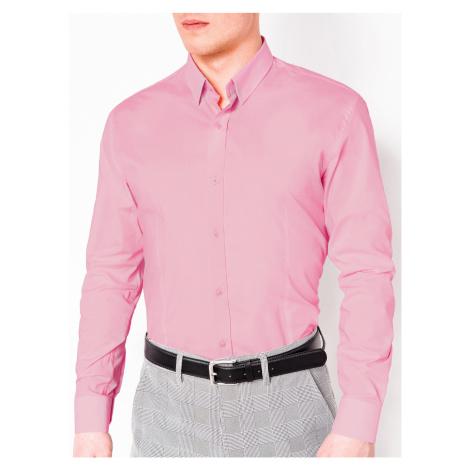 Pánska elegantná košeľa s dlhým rukávom Drake ružová