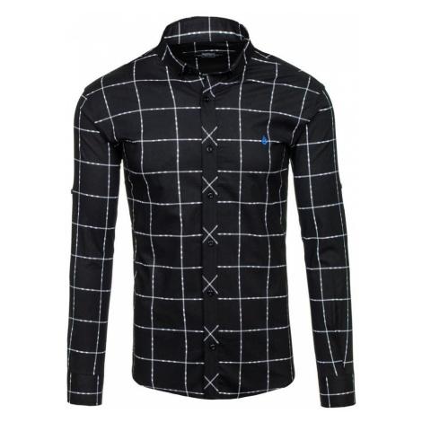 Čierna pánska károvaná košeľa s dlhými rukávmi BOLF 0280