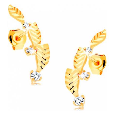 Zlaté náušnice 585 - tri lístočky zdobené diamantovým rezom, zirkóny