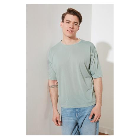 Trendyol Mint Basic Men's Bike Collar Oversize Short Sleeve T-Shirt